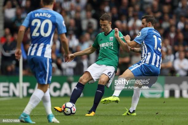 Jonny Evans of West Bromwich Albion during the Premier League match between Brighton and Hove Albion and West Bromwich Albion at Amex Stadium on...