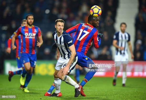 Jonny Evans of West Bromwich Albion is tackled by Christian Benteke of Crystal Palace during the Premier League match between West Bromwich Albion...