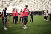 Jonny Evans of West Bromwich Albion plays blind football as West Bromwich Albion celebrate the 25th anniversary of The Albion Foundation on October...