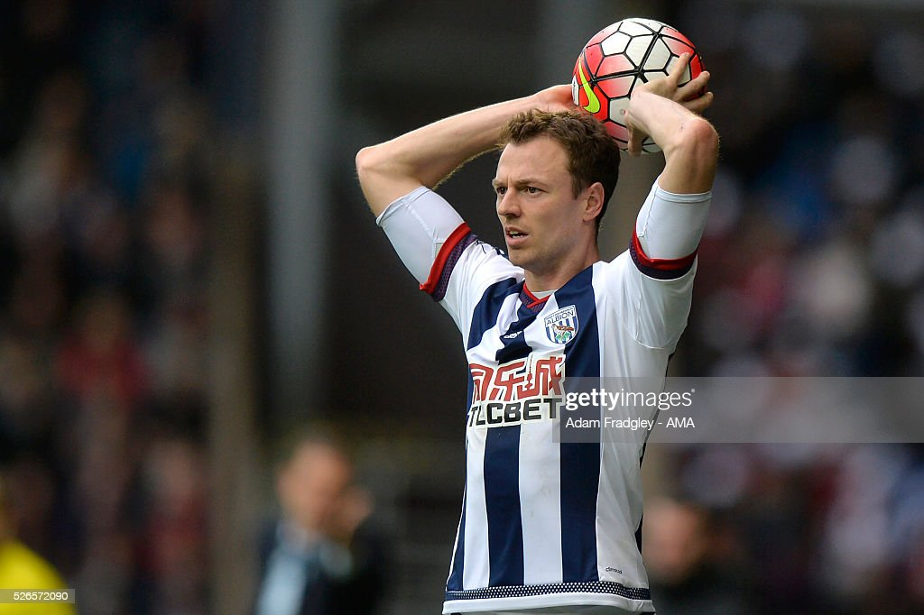 Jonny Evans of West Bromwich Albion takes a throw in during the Barclays Premier League match between West Bromwich Albion and West Ham United at The Hawthorns on April 30, 2016 in West Bromwich, United Kingdom.