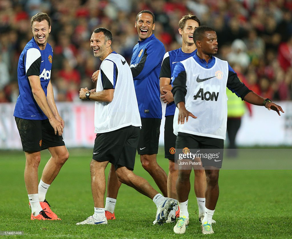 Jonny Evans, Ryan Giggs, Rio Ferdinand, Adnan Januzaj and Patrice Evra of Manchester United in action during a first team training session as part of their pre-season tour of Bangkok, Australia, China, Japan and Hong Kong on July 19, 2013 in Sydney, Australia.