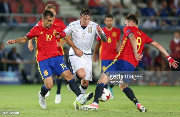 Jonny Federico Bernardeschi Saul Niguez during the UEFA European Under21 Championship Semi Final match between Spain and Italy at Krakow Stadium on...