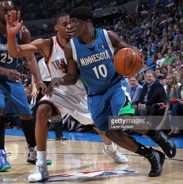 Jonny Flynn of the Minnesota Timberwolves drives to the basket against Russell Westbrook of the Oklahoma City Thunder on April 4 2010 at the Ford...