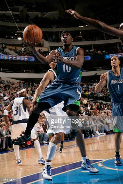 Jonny Flynn of the Minnesota Timberwolves goes in for the layup against the Dallas Mavericks during a game at the American Airlines Center on March 3...