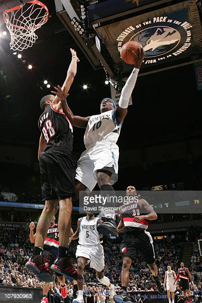 Jonny Flynn of the Minnesota Timberwolves shoots against Nicolas Batum of the Portland Trail Blazers during the game on January 7 2011 at Target...