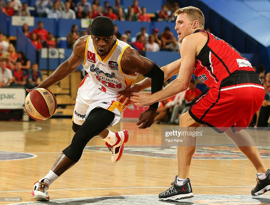 Jonny Flynn of the Tigers looks to drive past Rhys Carter of the Wildcats during the round 20 NBL match between the Perth Wildcats and the Melbourne Tigers at Perth Arena on February 21, 2013 in Perth, Australia.