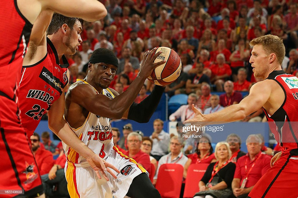 Jonny Flynn of the Tigers looks to drive to the basket during the round 20 NBL match between the Perth Wildcats and the Melbourne Tigers at Perth Arena on February 21, 2013 in Perth, Australia.
