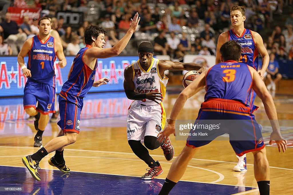 Jonny Flynn of the Tigers moves the ball forward during the round 18 NBL match between the Adelaide 36ers and the Melbourne Tigers at Adelaide Arena on February 10, 2013 in Adelaide, Australia.