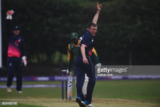 Jonny Gale of England appeals during the INAS Learning Disability TriSeries Trophy Final match between England and South Africa on July 21 2017 in...