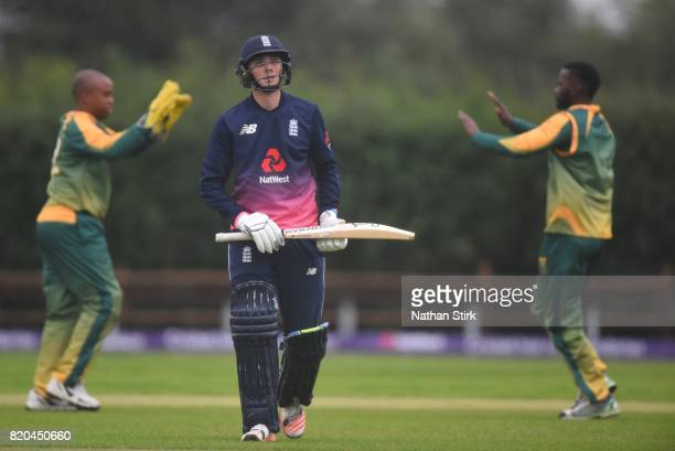Jonny Gale of England walks of the pitch after getting out during the INAS Learning Disability TriSeries Trophy Final match between England and South...