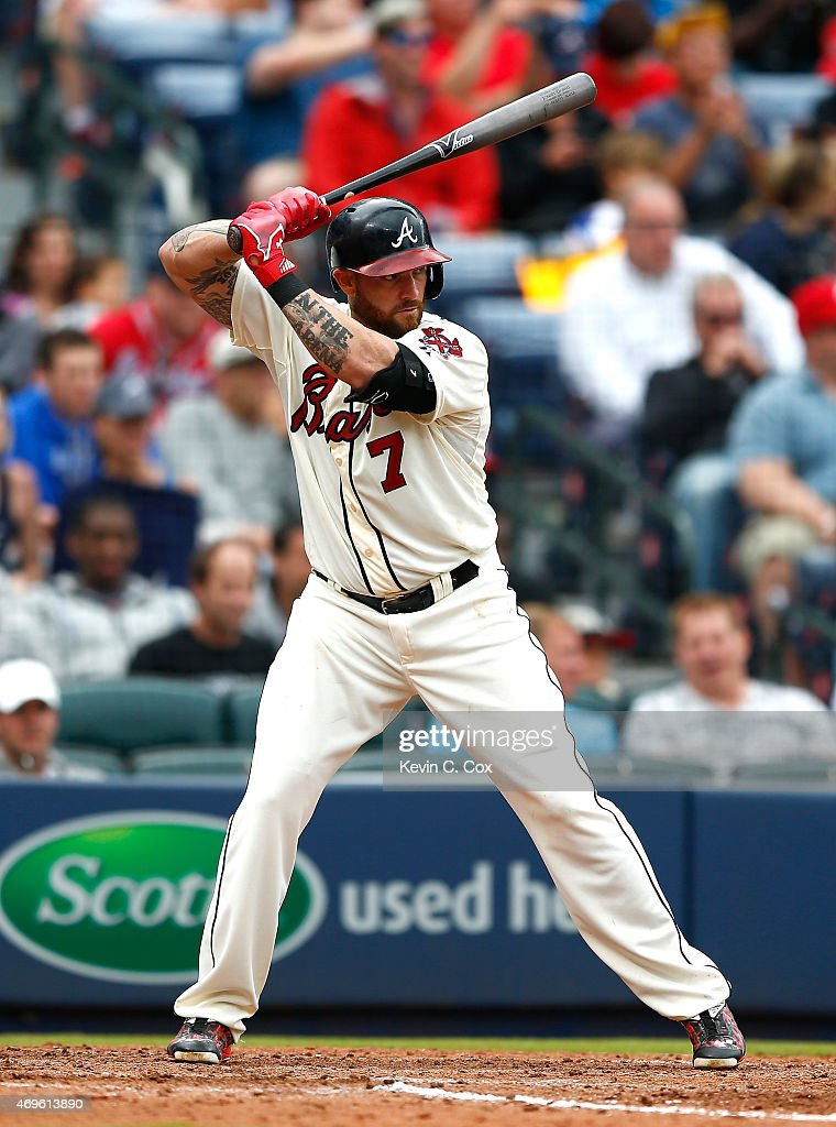 <a gi-track='captionPersonalityLinkClicked' href=/galleries/search?phrase=Jonny+Gomes&family=editorial&specificpeople=568435 ng-click='$event.stopPropagation()'>Jonny Gomes</a> #7 of the Atlanta Braves in action against the New York Mets during the Braves opening series at Turner Field on April 12, 2015 in Atlanta, Georgia.