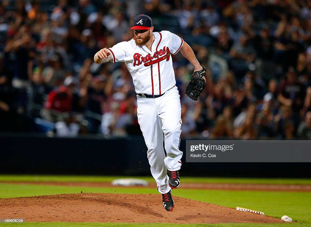 <a gi-track='captionPersonalityLinkClicked' href=/galleries/search?phrase=Jonny+Gomes&family=editorial&specificpeople=568435 ng-click='$event.stopPropagation()'>Jonny Gomes</a> #7 of the Atlanta Braves reacts after striking out Bryan Mitchell #55 of the New York Yankees to end the ninth inning at Turner Field on August 28, 2015 in Atlanta, Georgia.
