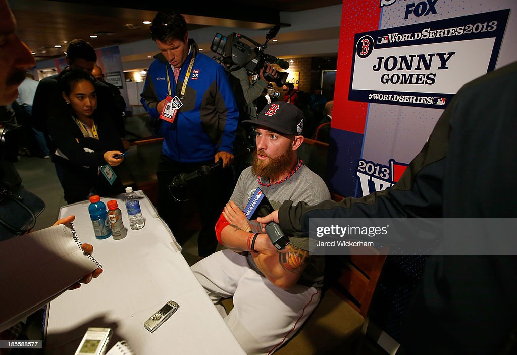Jonny Gomes #5 of the Boston Red Sox answers questions during 2013 World Series Media Day at Fenway Park on October 22, 2013 in Boston, Massachusetts. The Red Sox host the Cardinals in Game 1 on October 23, 2013.