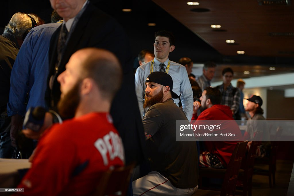 <a gi-track='captionPersonalityLinkClicked' href=/galleries/search?phrase=Jonny+Gomes&family=editorial&specificpeople=568435 ng-click='$event.stopPropagation()'>Jonny Gomes</a> #5 of the Boston Red Sox answers questions during media availability a day before the American League Championship Series on October 11, 2013 at Fenway Park in Boston, Masschusetts.