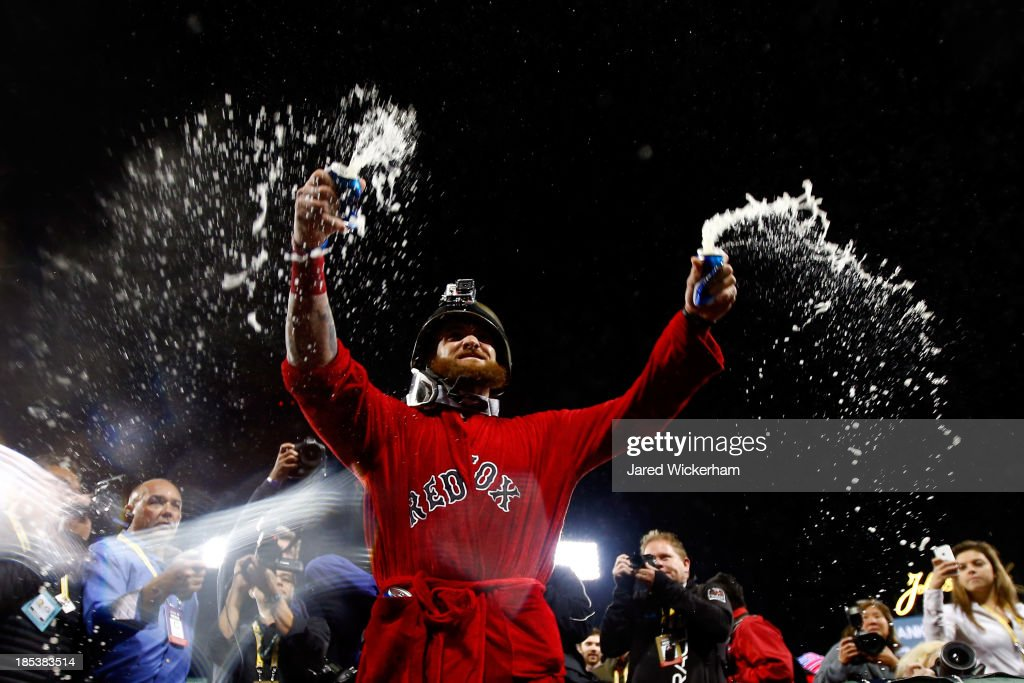 Jonny Gomes #5 of the Boston Red Sox celebrates after defeating the Detroit Tigers in Game Six of the American League Championship Series at Fenway Park on October 19, 2013 in Boston, Massachusetts. The Red Sox defeated the Tigers 5-2 to clinch the ALCS in six games.