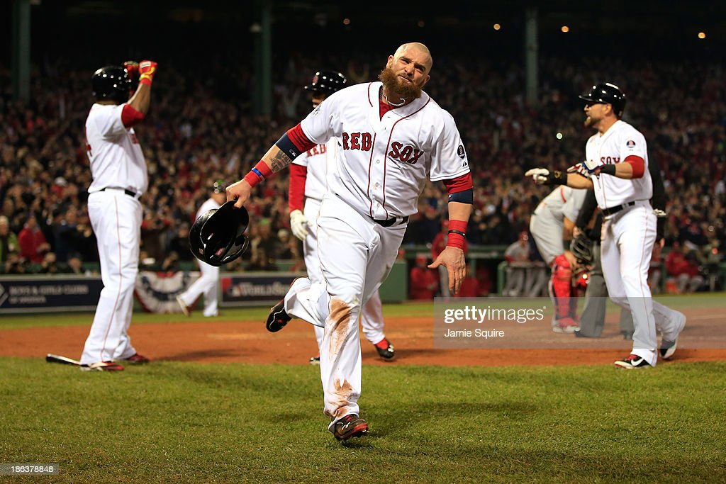 <a gi-track='captionPersonalityLinkClicked' href=/galleries/search?phrase=Jonny+Gomes&family=editorial&specificpeople=568435 ng-click='$event.stopPropagation()'>Jonny Gomes</a> #5 of the Boston Red Sox celebrates after scoring in the third inning on a hit by Shane Victorino #18 against the St. Louis Cardinals during Game Six of the 2013 World Series at Fenway Park on October 30, 2013 in Boston, Massachusetts.