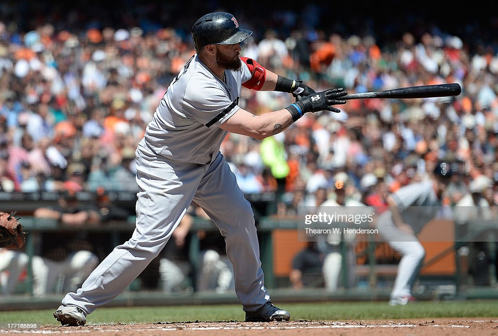 <a gi-track='captionPersonalityLinkClicked' href=/galleries/search?phrase=Jonny+Gomes&family=editorial&specificpeople=568435 ng-click='$event.stopPropagation()'>Jonny Gomes</a> #5 of the Boston Red Sox hits a two-run RBI single in the third inning against the San Francisco Giants at AT&T Park on August 21, 2013 in San Francisco, California. Shane Victorino #18 and Dustin Pedroia #15 both scored on the sinlge.