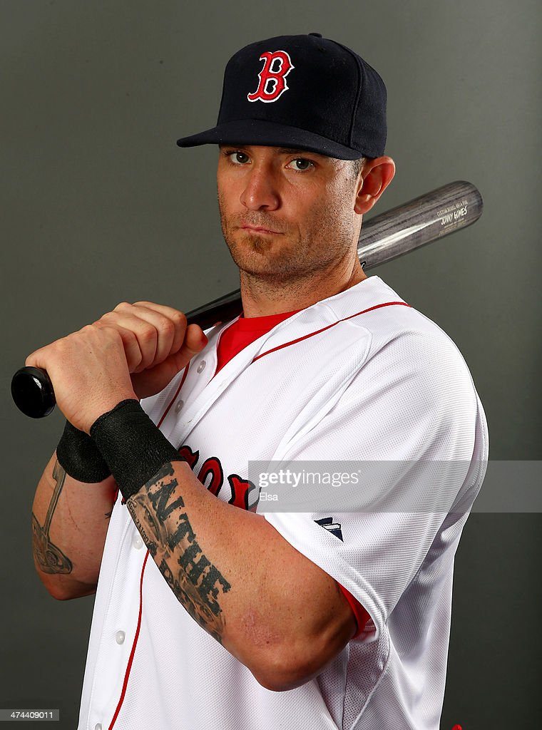 <a gi-track='captionPersonalityLinkClicked' href=/galleries/search?phrase=Jonny+Gomes&family=editorial&specificpeople=568435 ng-click='$event.stopPropagation()'>Jonny Gomes</a> #5 of the Boston Red Sox poses for a portrait during Boston Red Sox Photo Day on February 23, 2014 at JetBlue Park in Fort Myers, Florida.