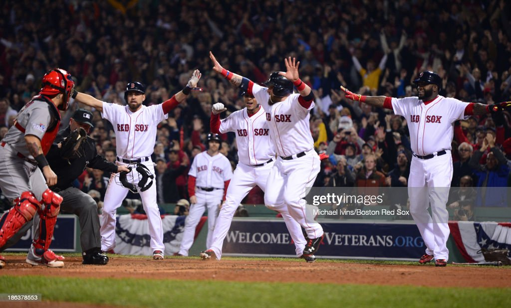 <a gi-track='captionPersonalityLinkClicked' href=/galleries/search?phrase=Jonny+Gomes&family=editorial&specificpeople=568435 ng-click='$event.stopPropagation()'>Jonny Gomes</a> #5 of the Boston Red Sox reacts after scoring the third of three runs after a bases clearing triple by Shane Victorino #18 against the St. Louis Cardinals in the third inning of Game Six of the World Series on October 30, 2013 at Fenway Park in Boston, Massachusetts.