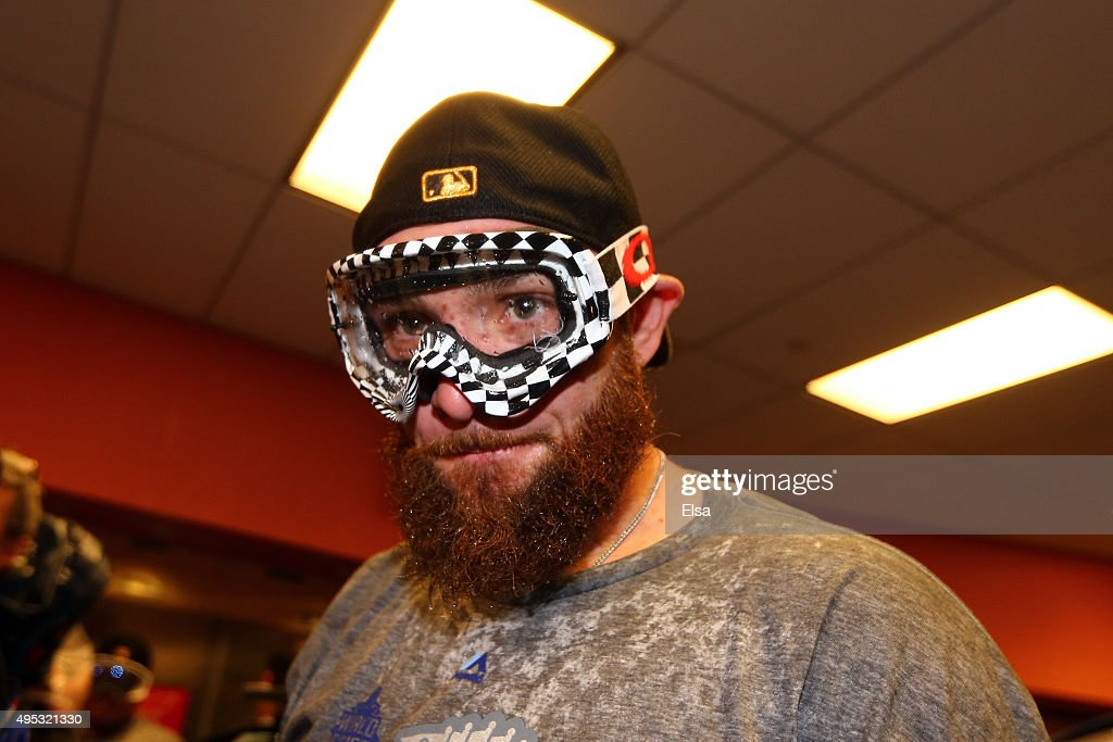 <a gi-track='captionPersonalityLinkClicked' href=/galleries/search?phrase=Jonny+Gomes&family=editorial&specificpeople=568435 ng-click='$event.stopPropagation()'>Jonny Gomes</a> #31 of the Kansas City Royals looks on in the clubhouse after defeating the New York Mets to win Game Five of the 2015 World Series at Citi Field on November 1, 2015 in the Flushing neighborhood of the Queens borough of New York City. The Kansas City Royals defeated the New York Mets with a score of 7 to 2 to win the World Series.