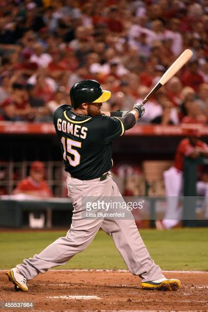 Jonny Gomes of the Oakland Athletics bats against the Los Angeles Angels of Anaheim at Angel Stadium of Anaheim on August 28 2014 in Anaheim...