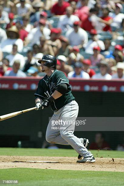 Jonny Gomes of the of the Tampa Bay Devil Rays bats during the game against the Los Angeles Angels of Anaheim at Angel Stadium in Anaheim California...