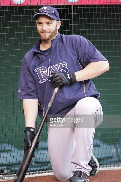 Jonny Gomes of the Tampa Bay Rays during batting practice before the game against the Los Angeles Angels of Anaheim at Angel Stadium in Anaheim...