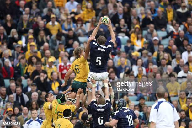 Jonny Gray of Scotland wins the ball over Ned Hanigan of the Wallabies in the lineout during the International Test match between the Australian...