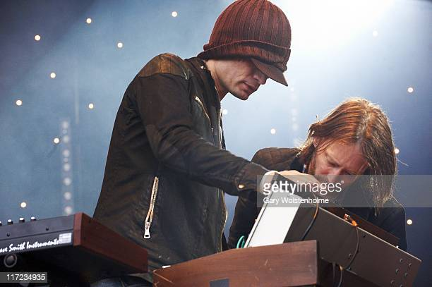 Jonny Greenwood and Thom Yorke of Radiohead perform on The Park Stage during the second day of Glastonbury Festival 2011 at Worthy Farm on June 24...