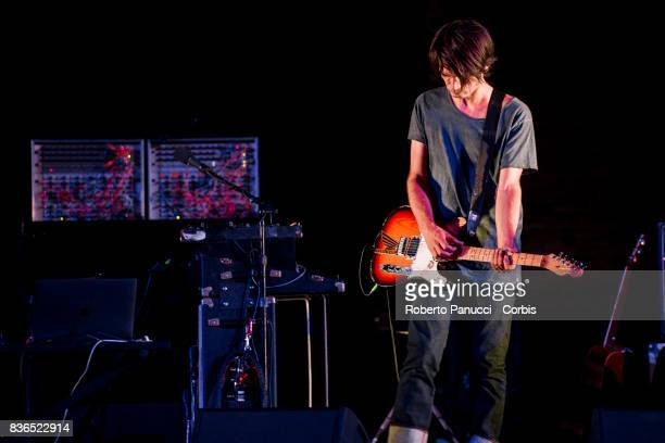 Jonny Greenwood of the group Radiohead perform on stage on August 20 2017 in Macerata Italy