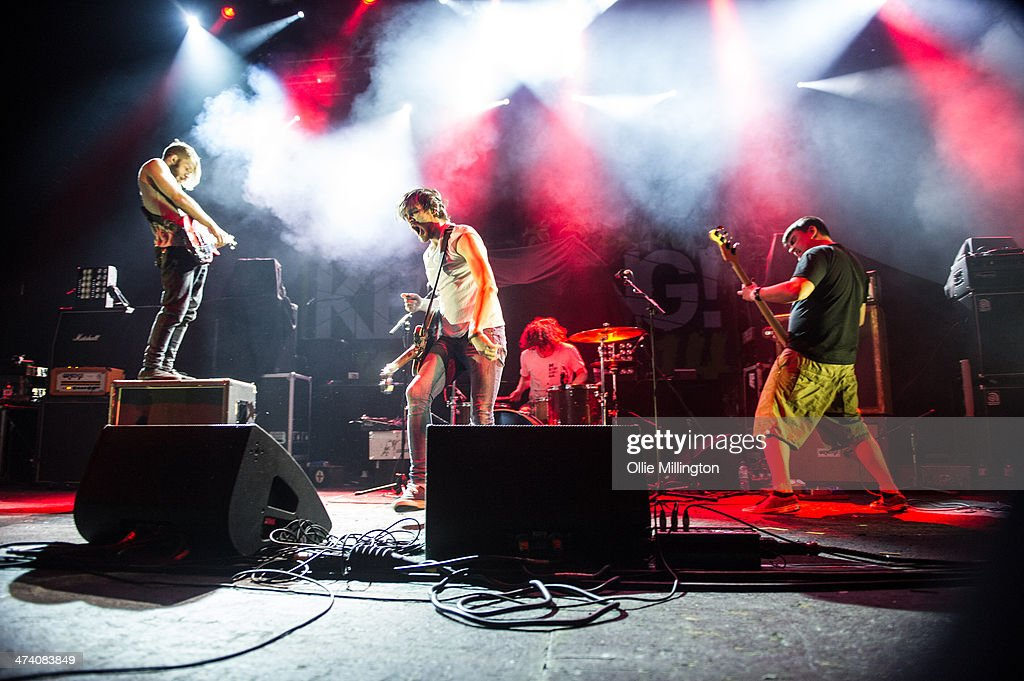 Jonny Hall, Matt Reynold, Tom Marsh and Paul Shelley of Baby Godzilla perform during the last night of the Kerrang Tour onstage at Brixton Academy on February 21, 2014 in London, United Kingdom.