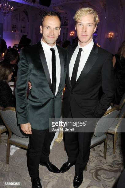 Jonny Lee Miller and Benedict Cumberbatch attend a drinks reception during the 57th Evening Standard Theatre Awards at The Savoy Hotel on November 20...