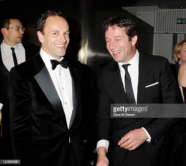 Jonny Lee Miller and James Purefoy attend an after party following the 2012 Olivier Awards held at The Royal Opera House on April 15 2012 in London...
