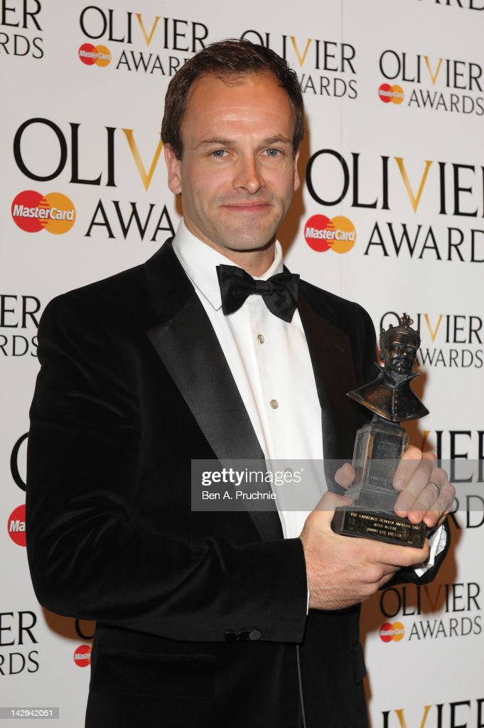 <a gi-track='captionPersonalityLinkClicked' href=/galleries/search?phrase=Jonny+Lee+Miller&family=editorial&specificpeople=633082 ng-click='$event.stopPropagation()'>Jonny Lee Miller</a>, winner of Best Actor for 'Frankenstein', poses in the press room during the 2012 Olivier Awards at The Royal Opera House on April 15, 2012 in London, England.