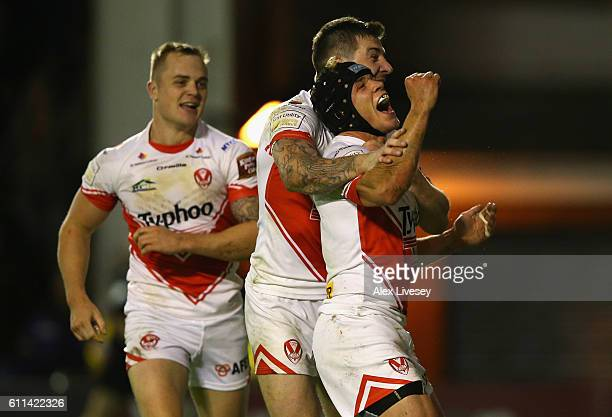 Jonny Lomax of St Helens celebrates after scoring their first try during the First Utility Super League Semi Final match between Warrington Wolves...