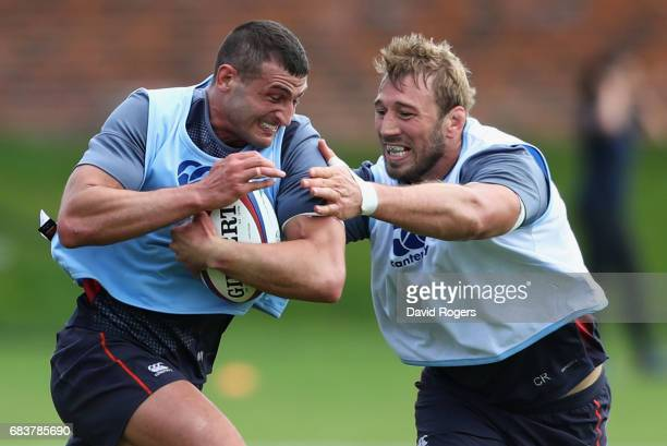 Jonny May is tackled by Chris Robshaw during England Media Access at Brighton College on May 16 2017 in Brighton England