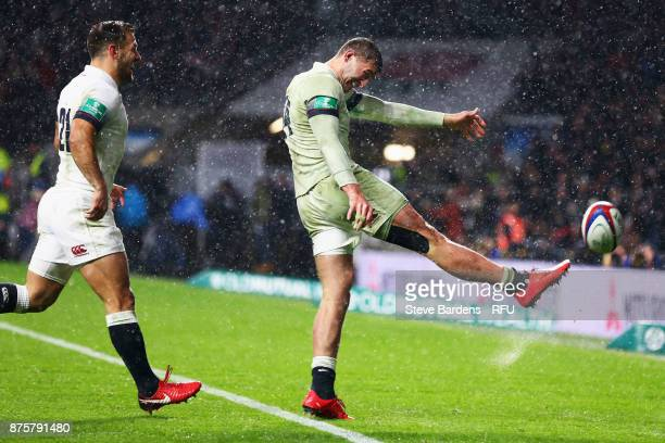 Jonny May of England celebrates scoring his teams third try during the Old Mutual Wealth Series match between England and Australia at Twickenham...