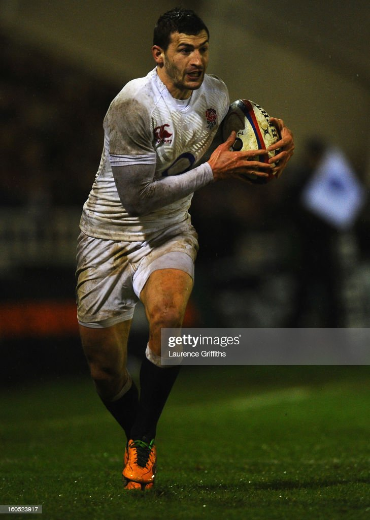 <a gi-track='captionPersonalityLinkClicked' href=/galleries/search?phrase=Jonny+May&family=editorial&specificpeople=5813545 ng-click='$event.stopPropagation()'>Jonny May</a> of England Saxons in action during the International Friendly match between England Saxons and Scotland A at Kingston Park on February 1, 2013 in Newcastle upon Tyne, England.