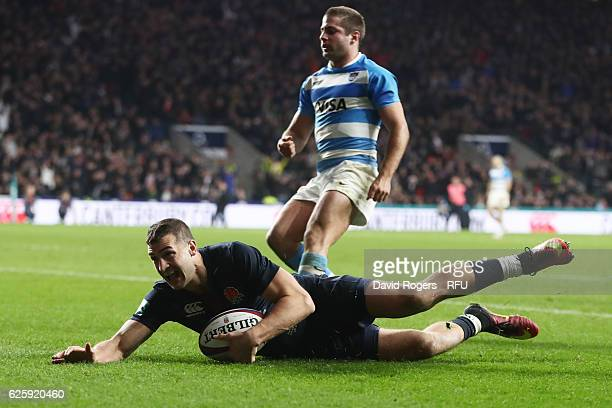 Jonny May of England scores his sides second try during the Old Mutual Wealth Series match between England and Argentina at Twickenham Stadium on...
