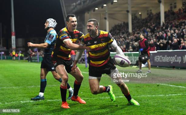 Jonny May of Gloucester celebrates with Tom Marshall after scoring during the European Rugby Challenge Cup match between Gloucester Rugby and Cardiff...