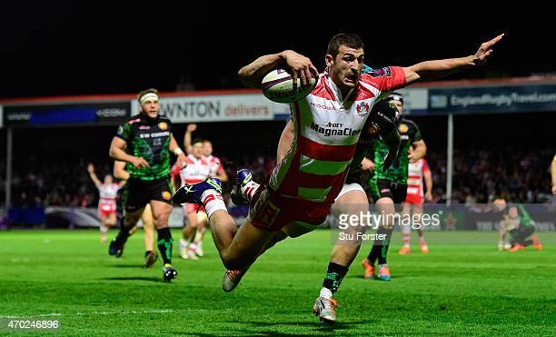 Jonny May of Gloucester dives over for the final try during the European Rugby Challenge Cup semi final match between Gloucester Rugby and Exeter...