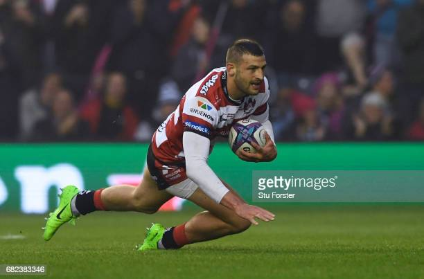 Jonny May of Gloucester dives over to score the opening try during the European Rugby Challenge Cup Final between Gloucester and Stade Francais at...