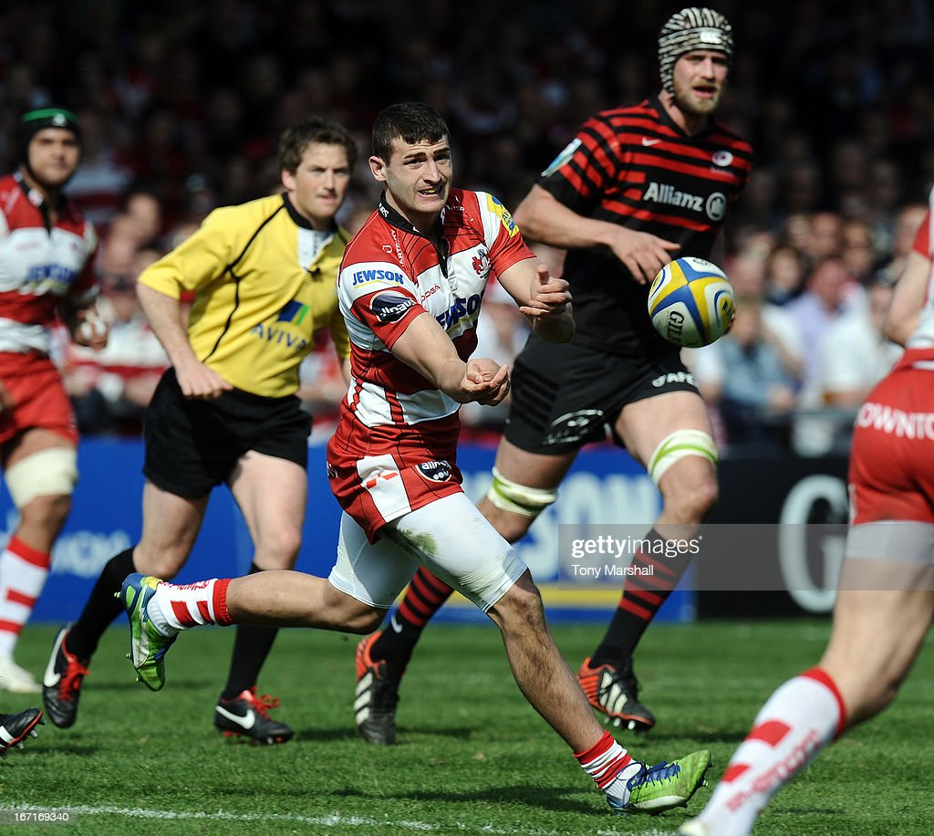 Jonny May of Gloucester during the Aviva Premiership match between Gloucester and Saracens at Kingsholm Stadium on April 20, 2013 in Gloucester, England.