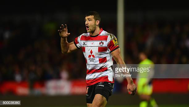 Jonny May of Gloucester in action during the Aviva Premiership match between Gloucester Rugby and Sale Sharks at Kingsholm on December 4 2015 in...