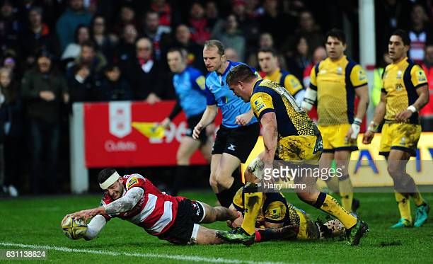 Jonny May of Gloucester Rugby goes over for his side's first try during the Aviva Premiership match between Gloucester Rugby and Worcester Warriors...