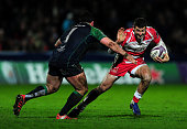 Jonny May of Gloucester takes on Denis Buckley of Connacht during the European Rugby Challenge Cup match between Gloucester and Connacht at Kingsholm...