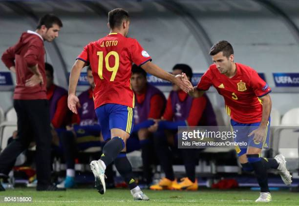 Jonny of Spain is replaced by Jose Gaya of Spain during the UEFA European Under21 Championship Final between Germany and Spain at Krakow Stadium on...