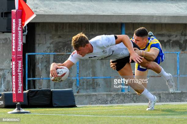 Jonny Pownall of Toronto Wolfpack scored tries during Super 8s Round 7 game between Toronto Wolfpack vs Doncaster RLFC at Allan A Lamport Stadium in...