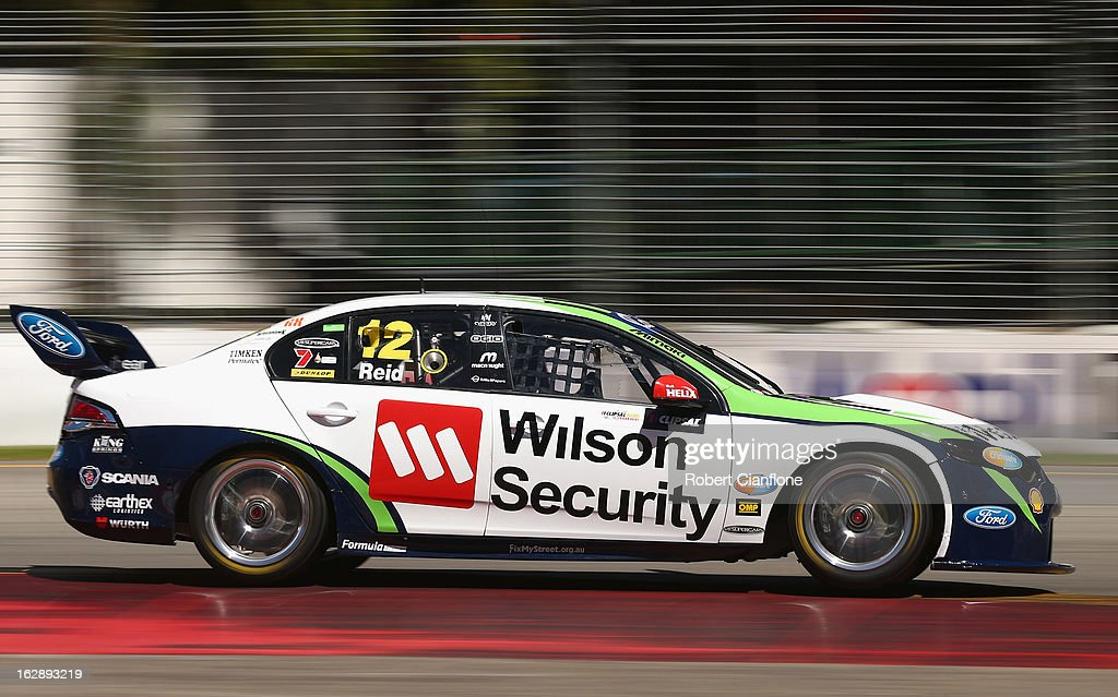 Jonny Reid drives the #12 Dick Johnson Racing Ford during practice for the Clipsal 500, which is round one of the V8 Supercar Championship Series, at the Adelaide Street Circuit on March 1, 2013 in Adelaide, Australia.