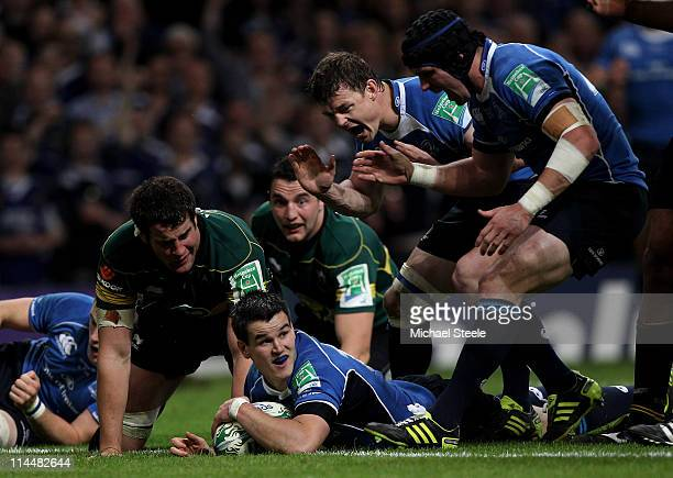 Jonny Sexton of Leinster celebrates scoring a try during the Heineken Cup Final match between Leinster and Northampton Saints at the Millennium...